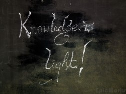 Knowledge is Light! Chalked onto a small board down a sidestreet...