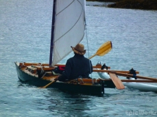 David set out in his self built double hull wooden kayak. With a sail!