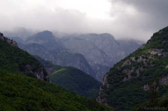 The Rugova Canyon, hidden in mist.
