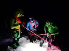 After dark rope-work, going over crevasse self rescue operations.