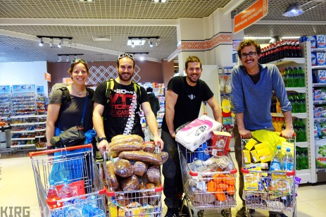 Bishkek, Kyrgyzstan. Shopping for three weeks worth of food in the supermarket. I'm accompanied by Sev, Nico and Alex.