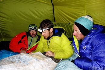 At the foot of Kara-Say glacier. We use the old russian maps to plan our direction for the next day.