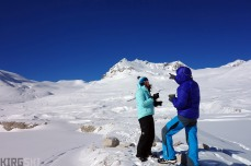 At the foot of the North Kara-Say glacier. Arnaud and Sev discuss possible ascent lines having breakfast.
