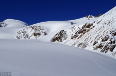 Unknown glacier, south west of North Kara-Say. The team sets off towards the end of the vally, a huge peak in sight.