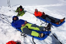Getting back to camp it's time once again to slide into our sledges and get that suntan on.