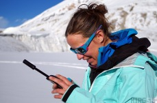 We can use our satellite phone to get some information from the outside world, mainly the weather forecast, which Emilie sends us from Grenoble. Due to the lack of text space we have to a code to reduce the amount of letters.