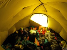 Inside the tent all is well. We have space to read, brush our teeth or even learn Russian if that is what