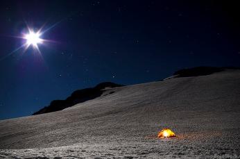 Alone on the glaciers.