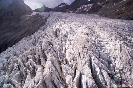 The chaos at the end of the Glacier Blanc, August 2016.