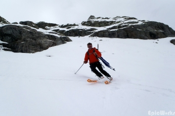 It is so much faster on skis!