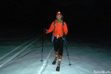 Nic heads out under darkness, tracking out the powder.