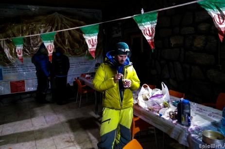Drinking tea in the freezing refuge