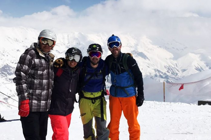 The four of us at the top of Dizin, ready for the last descent.
