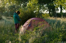 etting up camp during our cycle along the midi canal