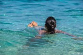 Sandie enjoys the Med at Cala Sisine
