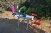 Our camp at Spiaggia Mareddu, with chairs and a table!