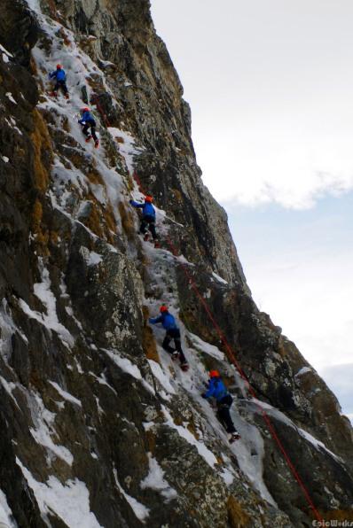 JB climbing a long fissure beneath the Aiguille du plat de la Selle