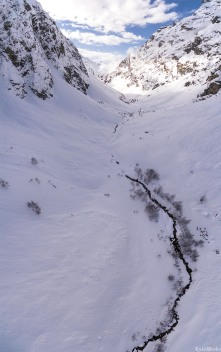 Torrent du diable, the party head back after a day on the ice