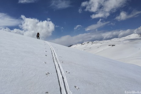 Tracking through the fresh snow