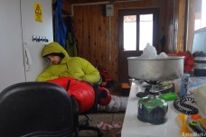 Waiting out the storm in our little hut. (courtesy JB Cazaux)