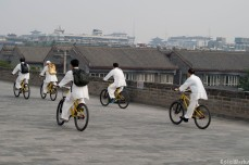 Cyclists along the top of the Xi'An wall