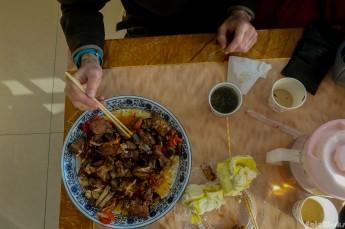 Roasted yak meat for breakfast