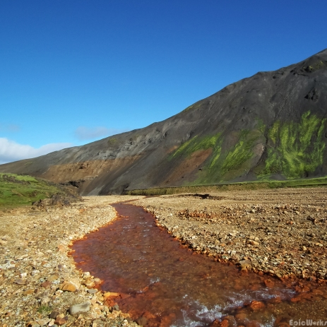 Colours of Iceland, the river runs red with iron containing oxides and bacteria.