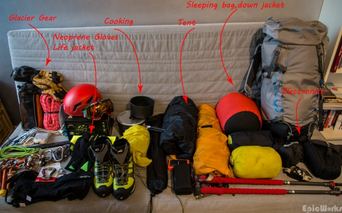 Everything for the traverse on ice and water