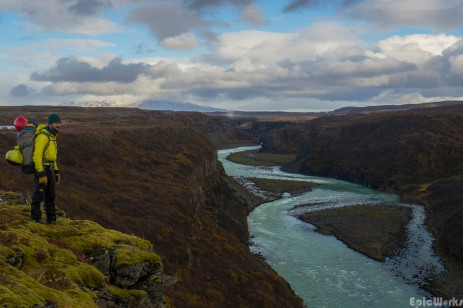 Looking for a place to descend onto the Hvíta, the powerfull spray of Gullfoss waterfall can be made out I the distance