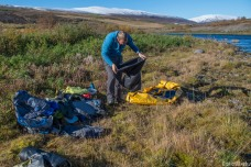 Preparing the gear to descend Fnjoska, a lovely river in the north of Iceland, on a sunny afternoon.