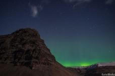 The fairy lights flicker near the summit of Eyjafjallajökull