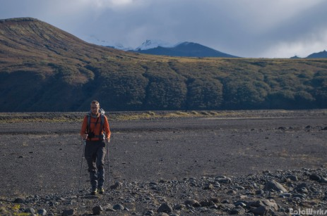 Crossing the flood plains on our mission to check out the glacier