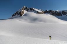 Fx climbs towards the small pass