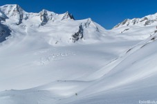 The Fisher glacier, with the Grosses Wannenhorn and Wyssnollen, our next objective