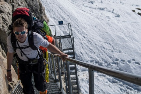 Rise above, the staircase is fastened to the steep wall above the ice