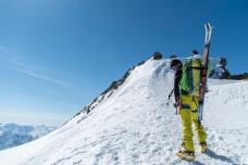 The summmit ridge of the Hinteres Fiescherhorn awaits